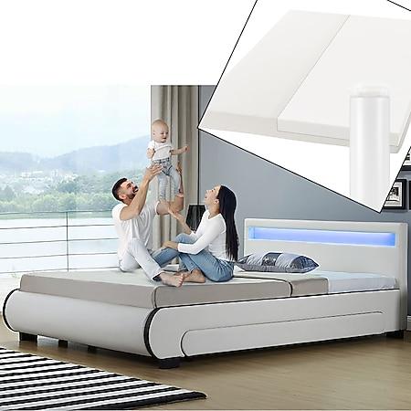 Juskys Polsterbett Bilbao 140x200 cm mit Matratze – inkl. Bettkästen, LEDs und Lattenrost – weiß - Bild 1