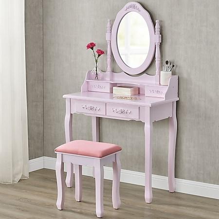 Juskys Schminktisch Mira mit Spiegel, Hocker und 4 Schubladen – rosa – Kosmetiktisch Frisiertisch - Bild 1