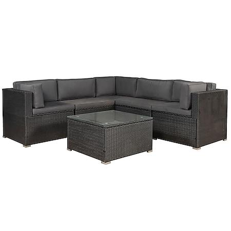 Juskys Polyrattan Lounge Nassau schwarz für 5 Personen mit Ecksofa & Tisch – Bezüge Dunkelgrau - Bild 1