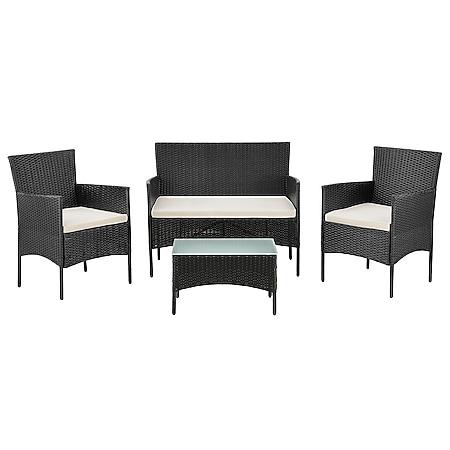 Juskys Polyrattan Gartenmöbel-Set Fort Myers schwarz mit Tisch, Sofa, 2 Stühle & Auflagen - Bild 1