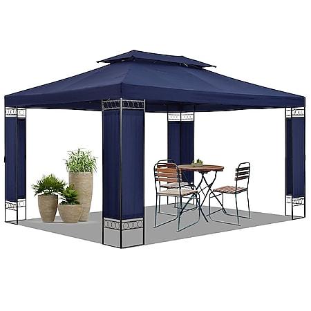 Juskys Gartenzelt Capri 3 x 4 m in blau – Outdoor Pavillon wasserabweisend - Bild 1