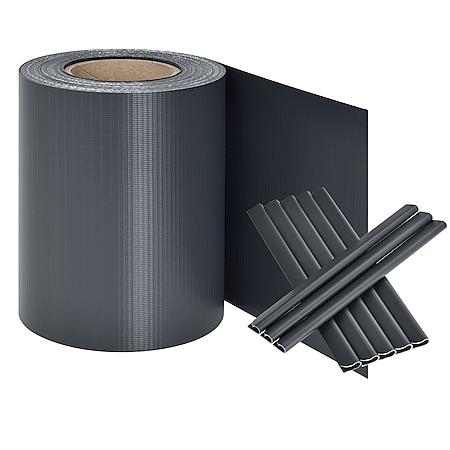 Juskys PVC Sichtschutzstreifen Doppelstabmatten Zaun | 35m x 19 cm anthrazit Zaunfolie Sichtschutz - Bild 1
