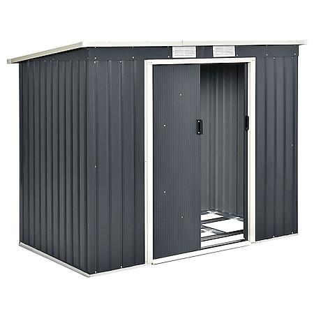 Juskys Metall Gerätehaus Geräteschuppen M mit Pultdach, Schiebetür & Fundament 4m³ anthrazit - Bild 1