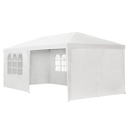 Juskys Partyzelt Gartenzelt 3 x 6m mit Stahlgerüst und Seitenwänden in weiss - Bild 1