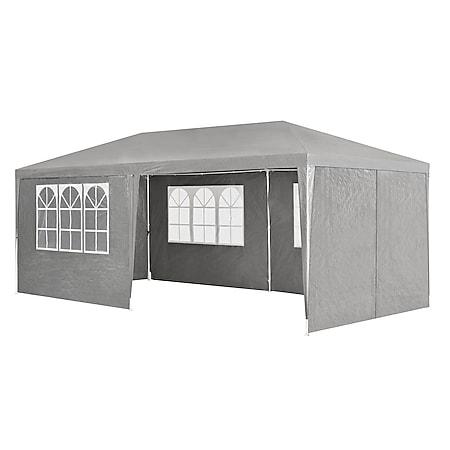 Juskys Partyzelt Gartenzelt 3 x 6 m mit Stahlgerüst und Seitenwänden in dunkelgrau - Bild 1