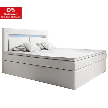 Juskys Boxspringbett New Jersey 140 x 200 cm mit Bettkästen, LED Beleuchtung & Matratzen weiß - Bild 1