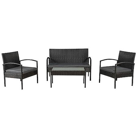 Juskys Polyrattan Balkonmöbel Trinidad schwarz, 4 Personen - Tisch, Bank, 2 Stühle, graue Auflagen - Bild 1