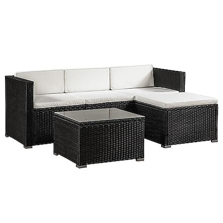 Juskys Polyrattan Lounge Punta Cana M schwarz für 3-4 Personen – Sofa, Tisch & Hocker - Bild 1