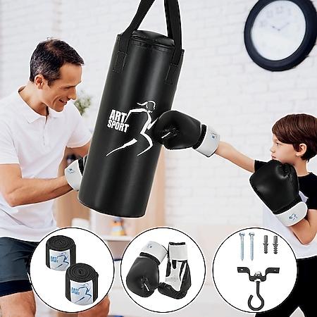 ArtSport Boxsack Set gefüllt – Kinder Boxset 10 kg mit Boxhandschuhen, Bandagen, Deckenhalterung - Bild 1