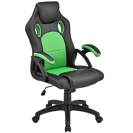 Juskys Racing Schreibtischstuhl Montreal ergonomisch Bürostuhl PC Gaming Stuhl – grün - Bild 1