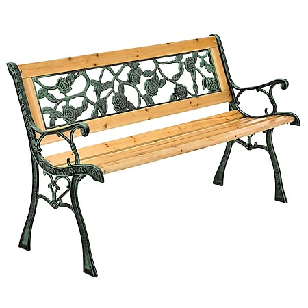 Juskys Gartenbank Venezia – 2-Sitzer Sitzbank mit Armlehnen & Rückenlehne – 122x54x73 cm - Bild 1