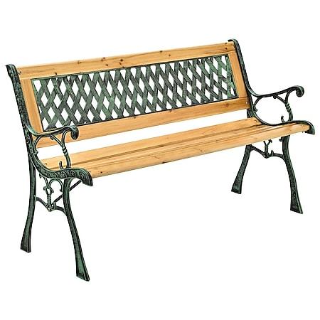 Juskys Gartenbank Pisa – 2-Sitzer Sitzbank mit Armlehnen & Rückenlehne – 122x54x73 cm - Bild 1