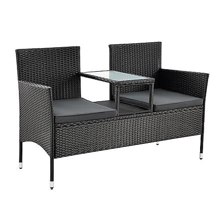 Juskys Polyrattan Gartenbank Monaco schwarz - 2-Sitzer Bank mit Tisch & Kissen - 133×63×84 cm - Bild 1