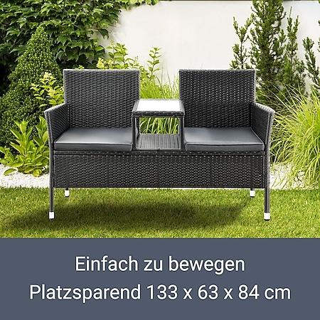Juskys Polyrattan Gartenbank Monaco Schwarz 2 Sitzer Bank Mit Tisch Kissen 133 63 84 Cm Online Kaufen Bei Netto
