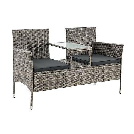 Juskys Polyrattan Gartenbank Monaco grau-meliert - 2-Sitzer Bank mit Tisch & Kissen - 133×63×84 cm - Bild 1