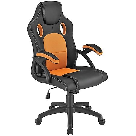 Juskys Racing Schreibtischstuhl Montreal ergonomisch Bürostuhl PC Gaming Stuhl – orange - Bild 1