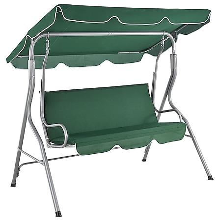 Juskys Hollywoodschaukel 3-Sitzer mit Dach & Sitzauflage – Gartenschaukel 200 kg belastbar - Grün - Bild 1