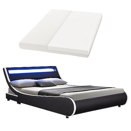 Juskys Polsterbett Bett Valencia 140 x 200 cm schwarz mit Kaltschaummatratze Einzelbett mit LED - Bild 1