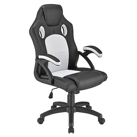 Juskys Racing Schreibtischstuhl Montreal ergonomisch Bürostuhl PC Gaming Stuhl – weiß - Bild 1