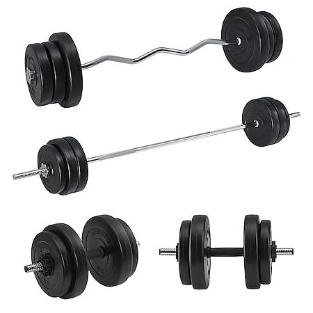 Artsport 3in1 Hantelset mit 2 Kurzhanteln, 1 Langhantel & 1 SZ Curlhantel – 12 Gewichte mit 60kg - Bild 1