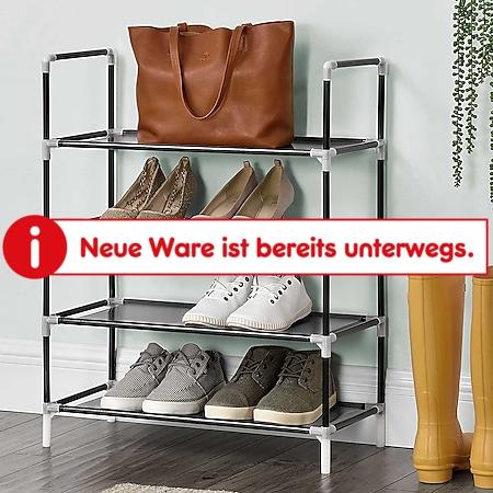Juskys Schuhregal Marino mit 4 Ebenen | 60 cm breit | Regal für 12 Paar Schuhe | Metall | schwarz - Bild 1