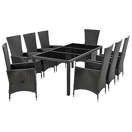 Juskys Polyrattan Gartenmöbel Rimini Plus schwarz 8 Personen – Tisch, 8 Stühle & Auflagen in Grau - Bild 1