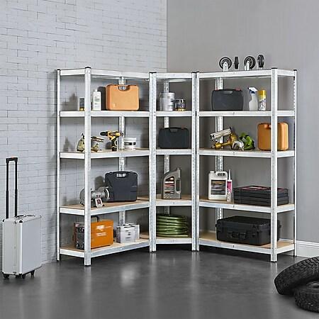 Juskys 3er Metall Regalsystem   1 Eckregal & 2 Lagerregale   15 Böden aus MDF Holz   2625 kg - Bild 1