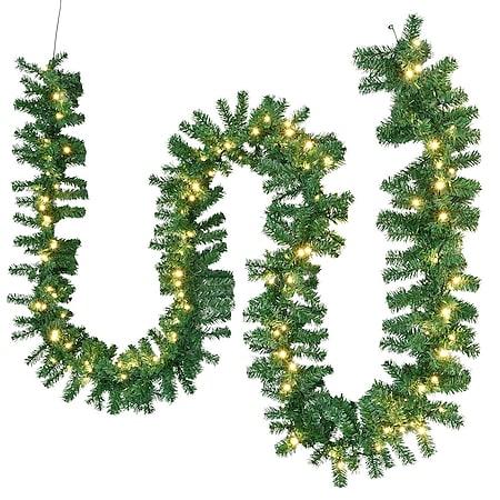 Juskys Weihnachtsgirlande 5m mit Beleuchtung – Lichterkette mit 100 LED - Indoor Tannengirlande - Bild 1