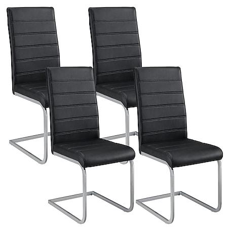 Juskys Freischwinger Stuhl Vegas 4er Set   Kunstleder Bezug + Metall Gestell   schwarz - Bild 1