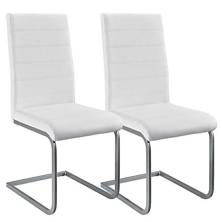 Juskys Freischwinger Stuhl Vegas 2er Set   Kunstleder Bezug + Metall Gestell   weiß - Bild 1
