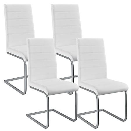 Juskys Freischwinger Stuhl Vegas 4er Set | Kunstleder Bezug + Metall Gestell | weiß - Bild 1