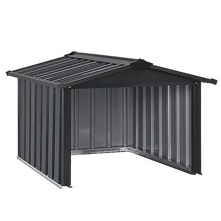 Juskys Mähroboter Garage mit Satteldach   Rasenmäher Dach Carport aus Metall   86 × 98 × 63 cm - Bild 1