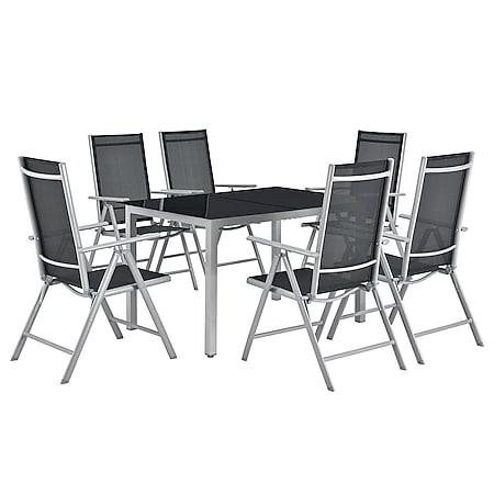 Juskys Aluminium Gartengarnitur Milano Gartenmöbel Set mit Tisch und 6 Stühlen Silber-Grau - Bild 1