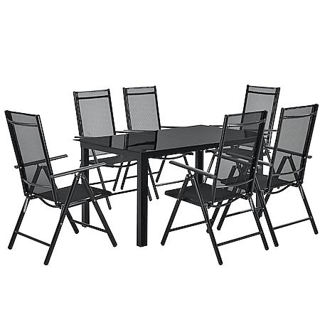 Juskys Aluminium Gartengarnitur Milano Gartenmöbel Set mit Tisch und 6 Stühlen dunkel-grau - Bild 1