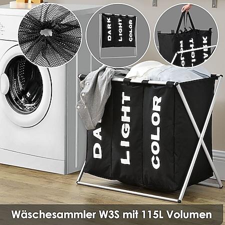 Juskys Wäschesammler W3S mit 3 Fächern & Aluminium Gestell | 115L Fassungsvermögen | Wäschesortierer - Bild 1
