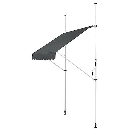 Juskys Klemmmarkise Kuwait grau 200 x 120 cm – höhenverstellbar - Sonnenschutz - ohne Bohren - Bild 1