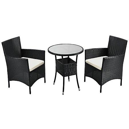 Juskys Polyrattan Balkon Set Bayamo 3-teilig für 2 Personen – Balkonmöbel mit Tisch & 2 Stühlen - Bild 1