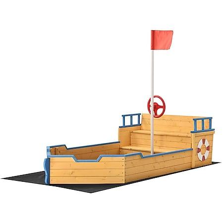 Juskys Sandkasten Käpt'n Pit mit Bodenplane & Sitzbank – Holz Piratenschiff Boot – Sandkiste Sandbox - Bild 1