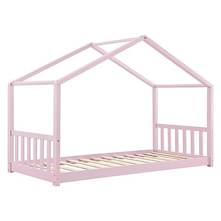 Juskys Kinderbett Paulina 90 x 200 cm mit Lattenrost und Dach | rose | Hausbett aus Massivholz - Bild 1