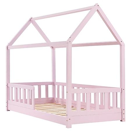 Juskys Kinderbett Marli 80 x 160 cm Rausfallschutz, Lattenrost & Dach | rose | Hausbett | Holz - Bild 1