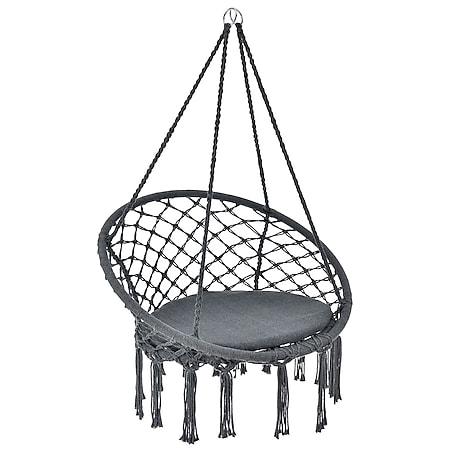 Hängesessel Cadras anthrazit - 60 cm breites Kissen –Indoor Hängekorb 120 kg Belastbarkeit | Juskys - Bild 1