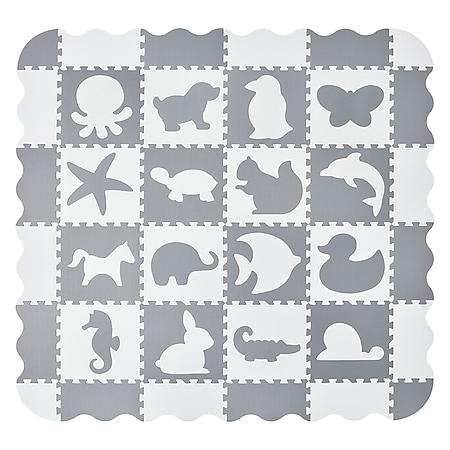 Juskys Kinder Puzzlematte Timon 36 Teile mit 16 Tieren - rutschfest – grau weiß - Bild 1