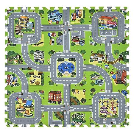 Juskys Kinder Puzzlematte Jascha 9 Teile - Stadt & Straßen – rutschfest – Spielmatte ab 10 Monate - Bild 1