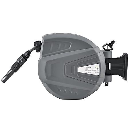Juskys Schlauchtrommel Flowwater 10 m – Schlauchbox mit flexibler Wandhalterung & Aufrollautomatik - Bild 1