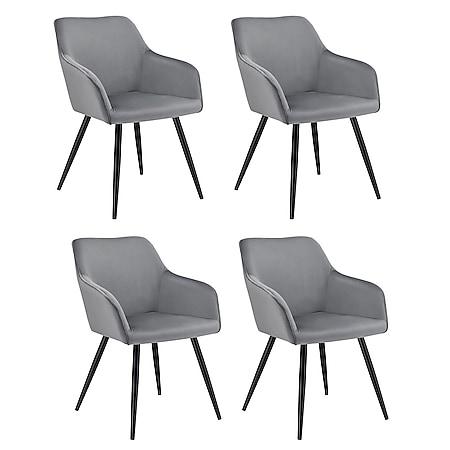 Juskys Esszimmerstuhl Tarje 4er Set - gepolstert mit kratzfesten Beinen & Samtbezug in Grau - Bild 1