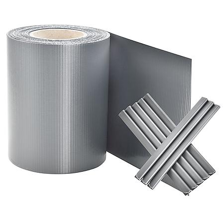 Juskys PVC Sichtschutzstreifen Doppelstabmatten Zaun | 35m x 19 cm hellgrau Zaunfolie Sichtschutz - Bild 1