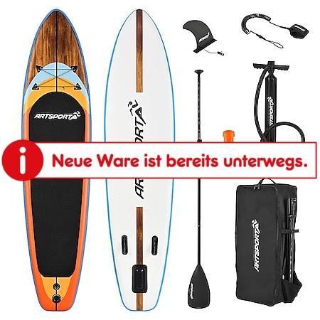 ArtSport Stand Up Paddle Board Beach Rocker – Aufblasbares SUP Board Set bis 150 kg - Weiß & Bunt - Bild 1