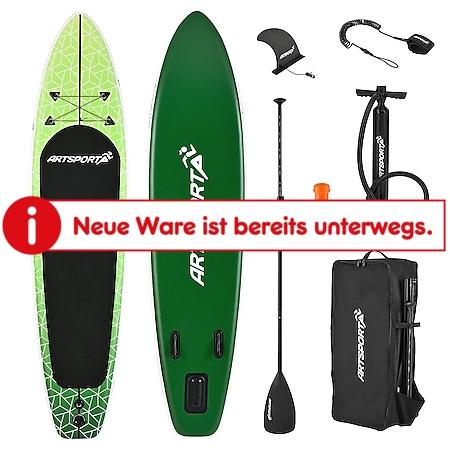 ArtSport Stand Up Paddle Board Green Killer – Aufblasbares SUP Board Set bis 150 kg - Grün-Weiß - Bild 1