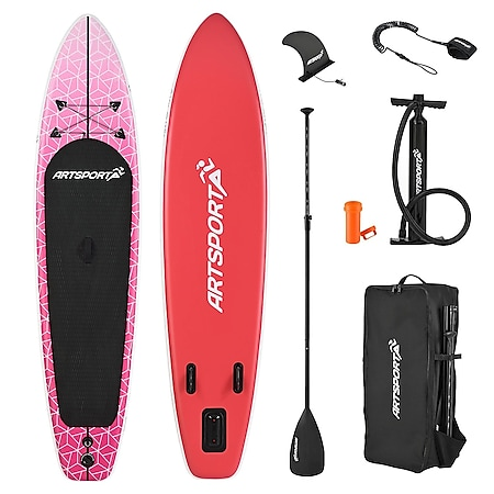 ArtSport Stand Up Paddle Board Pink Blizzard – Aufblasbares SUP Board Set bis 150 kg - Pink-Weiß - Bild 1