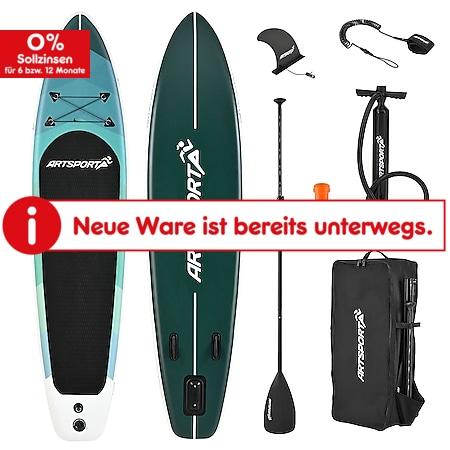 ArtSport Stand Up Paddle Board Blue Wave – Aufblasbares SUP Board Set bis 150 kg - Blau gestreift - Bild 1